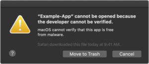 macOS Catalina notarization warning Example Dialog